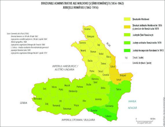 Harta administrativă-teritorială a României între 1856 - 1916