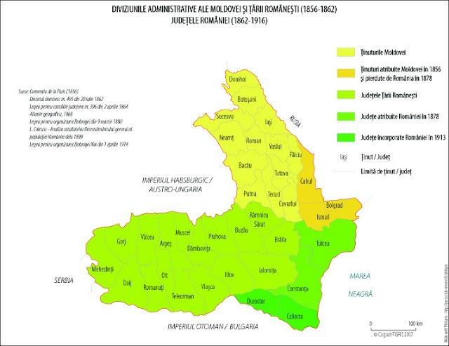 Evoluţia organizării administrativ-teritoriale a României între 1856 - 2011 (14 hărţi)