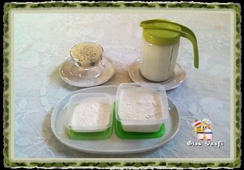 Leite, farinha e amido de arroz