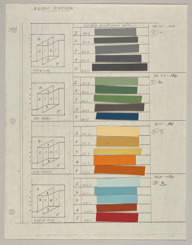 Color sheets and layout of the Never Before series by Josef Albers