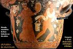 Crátera: Ménade bailando con sátiros. Cultura griega