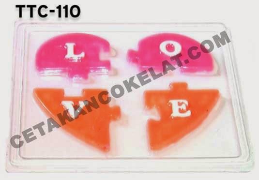 Cetakan Coklat Puzzle Love Hati valentine