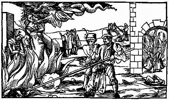 Uma pessoa acusada de bruxaria sendo queimada na fogueira