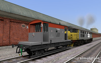 Fastline Simulation: Railfreight liveried dia 1/507 brake van for RailWorks complete with tail lamp and side lamps.