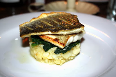 Sea Bass at The Oyster Shed restaurant on the Thames in London England