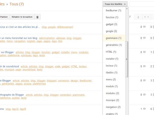 La liste complète des libellés pour trier les articles