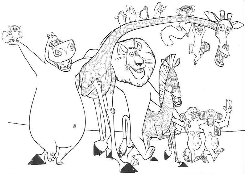 Coloring pages july 2011 for Madagascar characters coloring pages