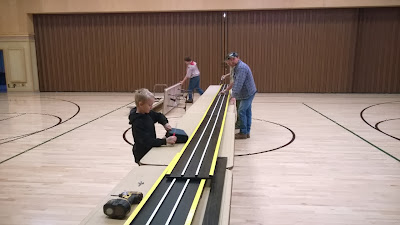 The Pinewood Derby Track starts to take shape