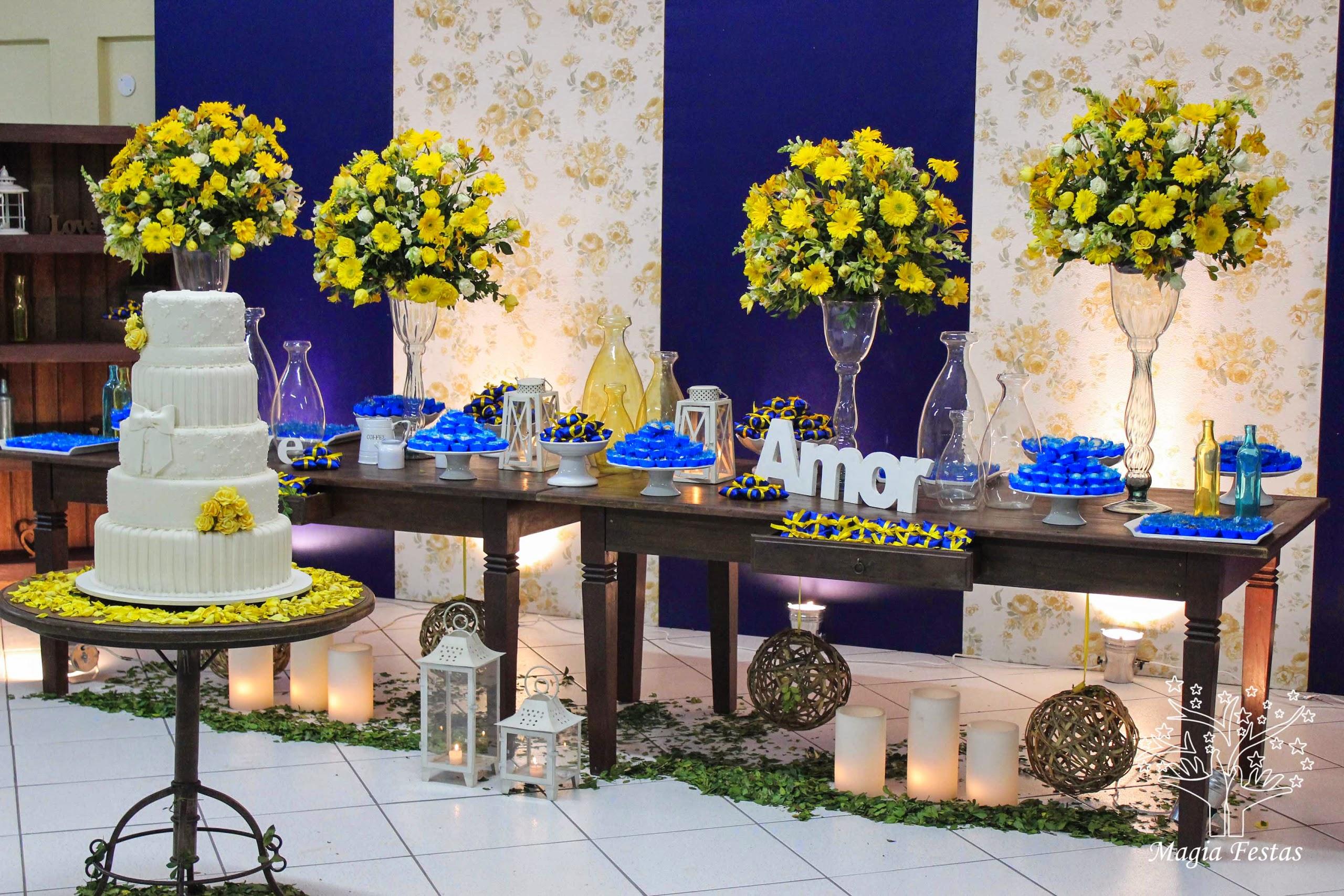 decoracao casamento rustico azul e amarelo : decoracao casamento rustico azul e amarelo: Magia Festas: Evento proprio – casamento rústico amarelo e azul
