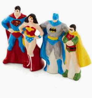 Superhero salt and pepper shakers batman robin wonder woman superman