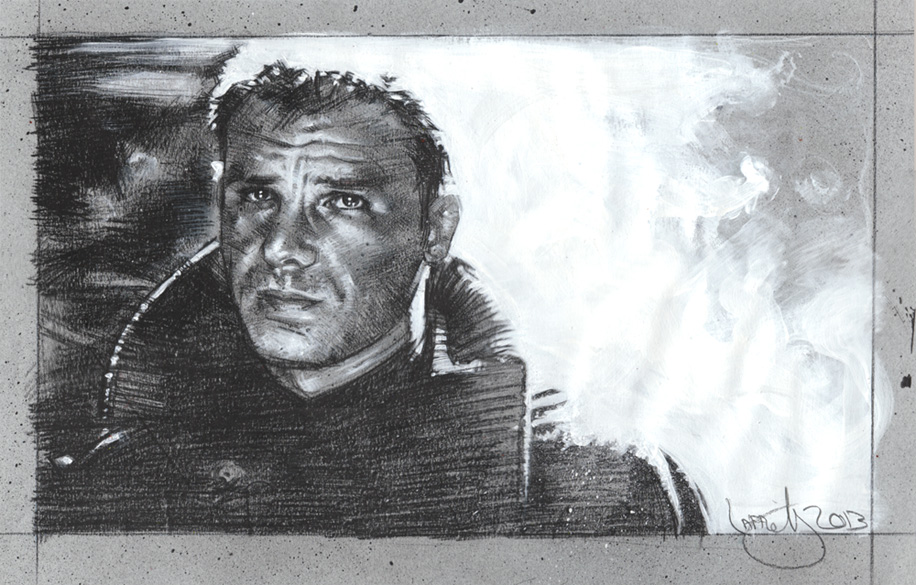 Harrison Ford as Blade Runner, original drawing by Jeff Lafferty