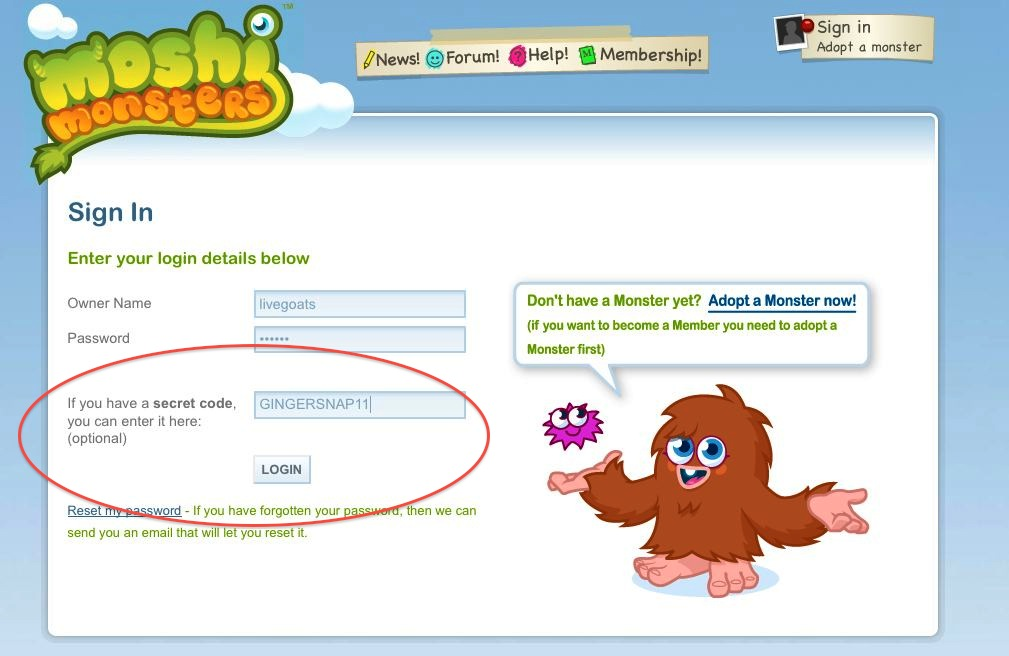 Unused moshi monster codes