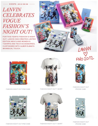 Lanvin illustrated FNO 2012 Collection, Tees, iPad case, iPhone case