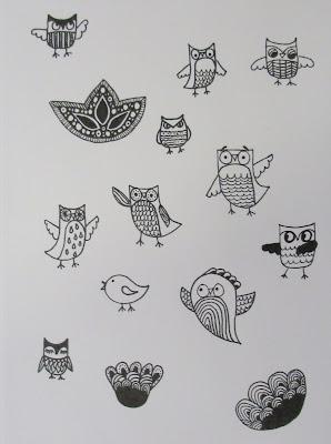 Pöllömäisiä doodleja