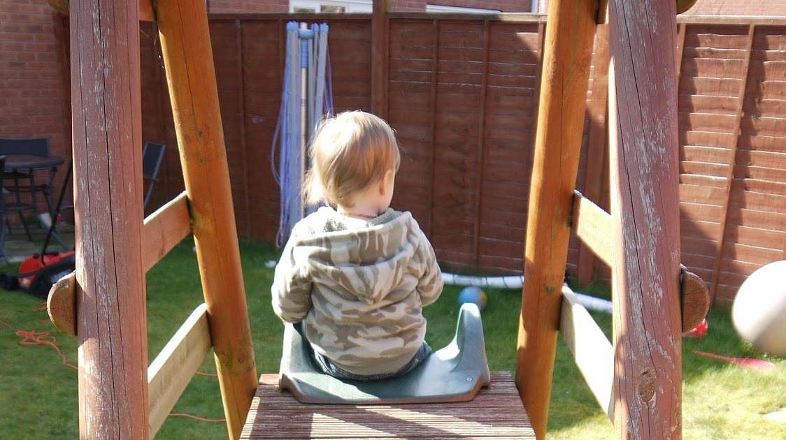 Outdoor Toddler Swing With Stand Plum Wooden Framed