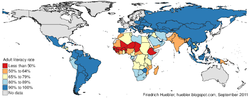 World map with adult literacy rates in 2009