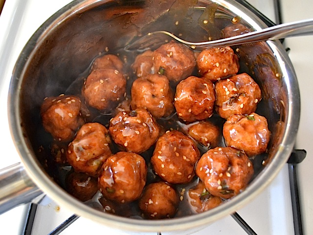 glaze coated meatballs