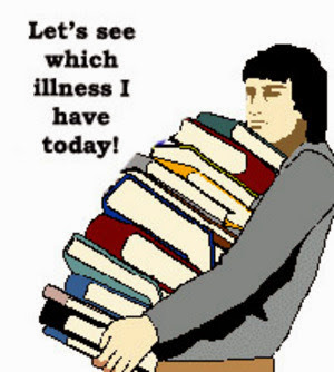 Person carrying books with caption, Let's see which illness I have today!