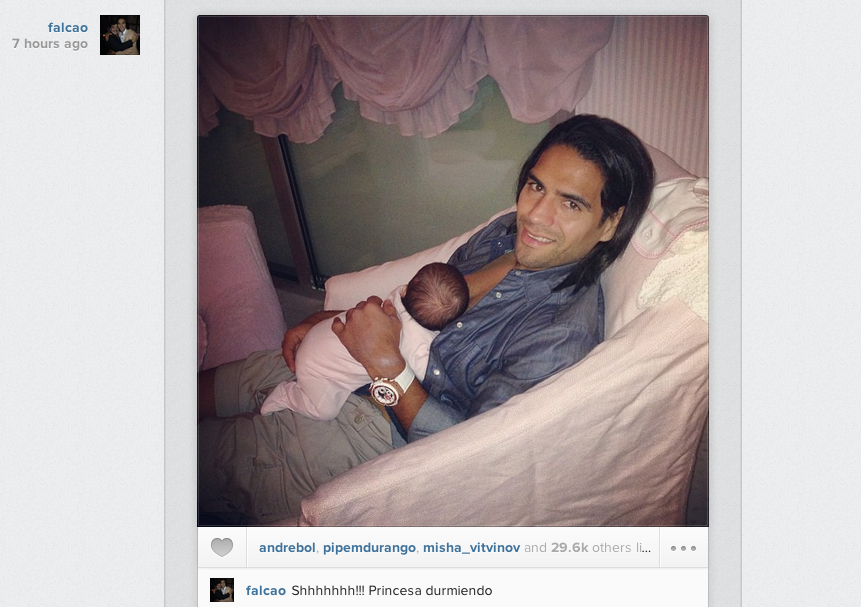 Cute! Radamel Falcao posts Instagram picture with his baby daughter