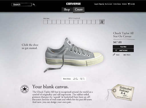 Start with a blank canvas. There are other shoe styles to choose from as well.