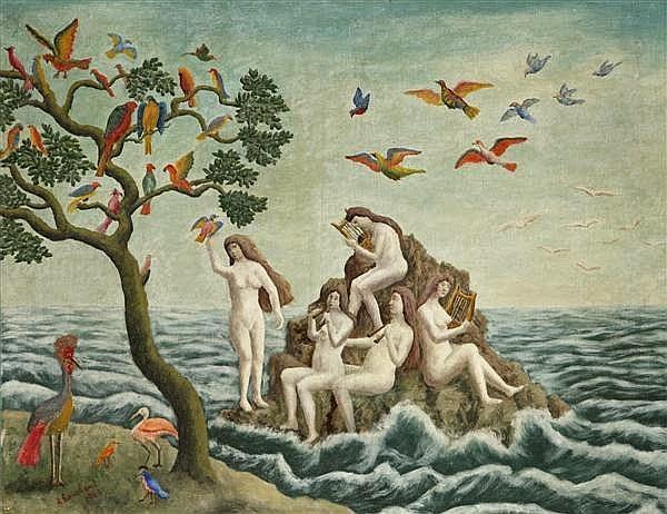 André Bauchant - Sirène charmant les oiseaux, 1943