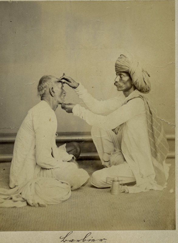 Vintage Photograph of an Indian Barber Doing his Work - 1870's