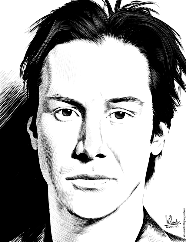 Ink drawing of Keanu Reeves, using Krita 2.4.