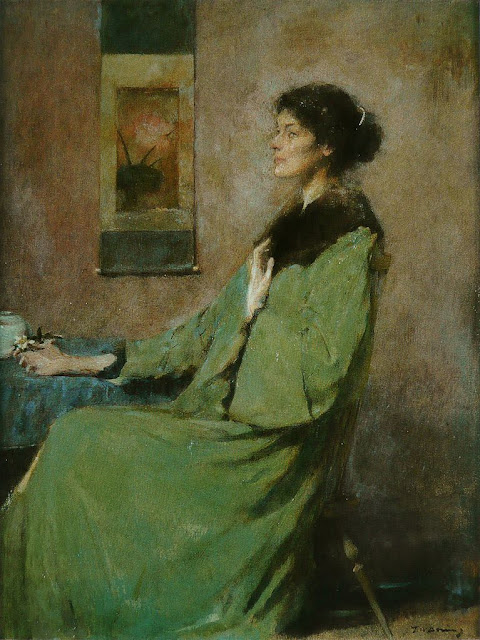 Thomas Dewing - Portrait of a Lady Holding a Rose
