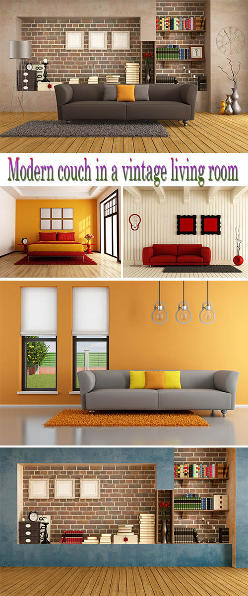 Stock Photo: Modern couch in a vintage living room