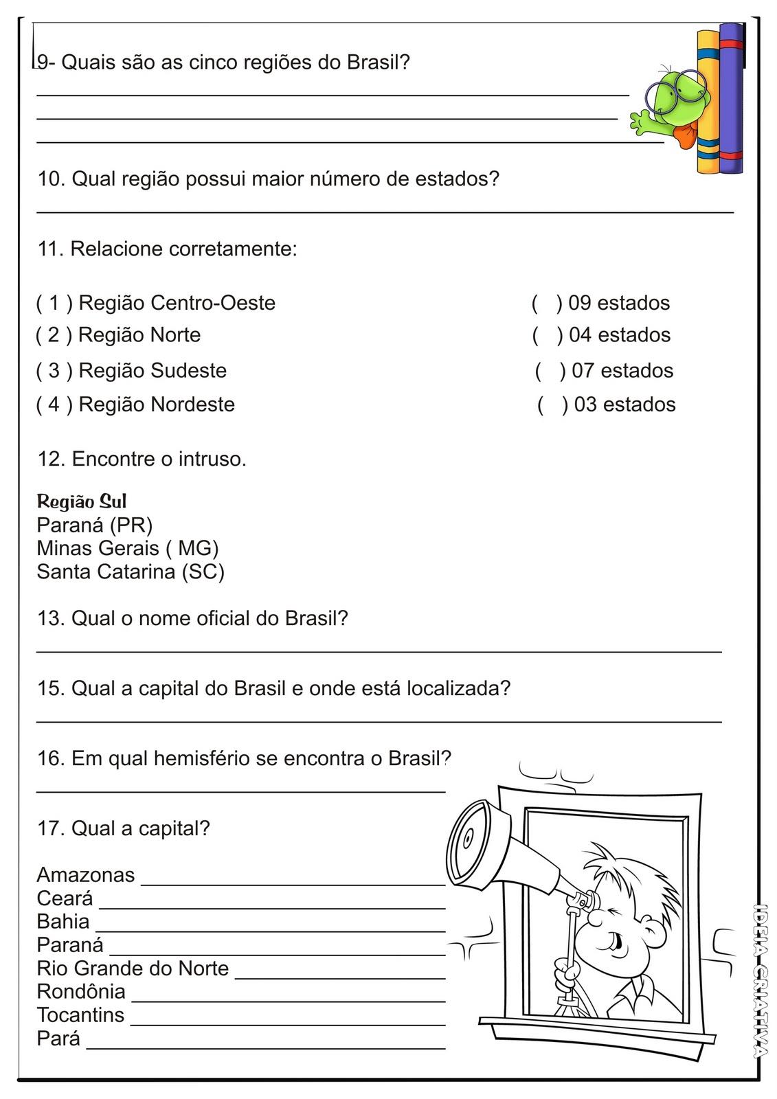 Geografia 5 Ano Regioes Brasileiras Atividade Geografia 5º Ano