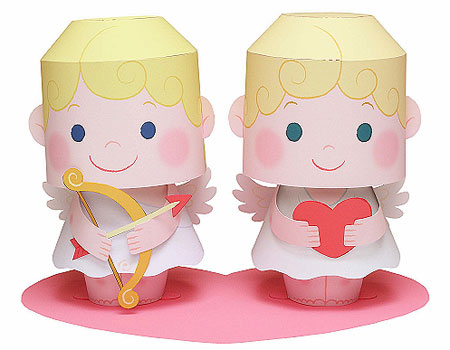 2012 Valentine's Day Papercraft Cupid Message Dolls