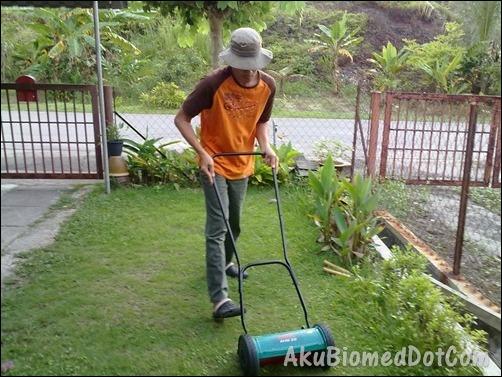 Mengunakan mesin rumput tolak