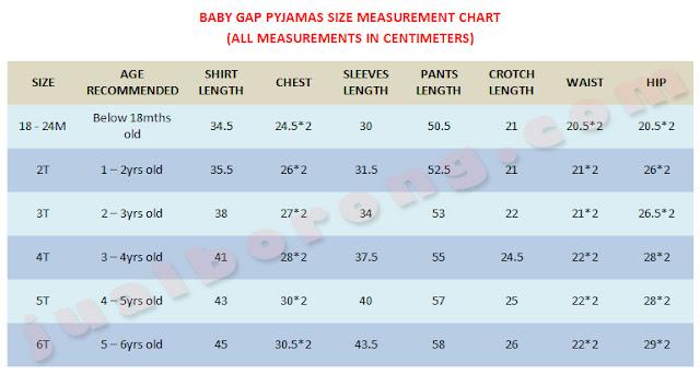 Gap Pyjamas Size Chart