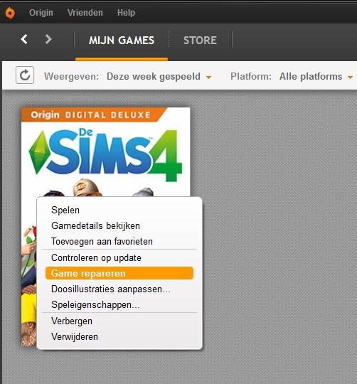 de sims 4 game repareren origin