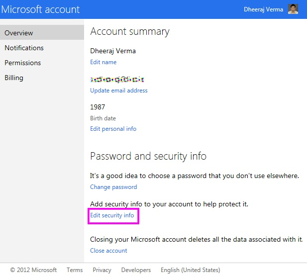 Security info under account in hotmail
