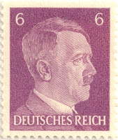 Stamp Adolf Hitler head, Deutsches Reich (Nazi Germany), purple, 6 pfenning, 1941