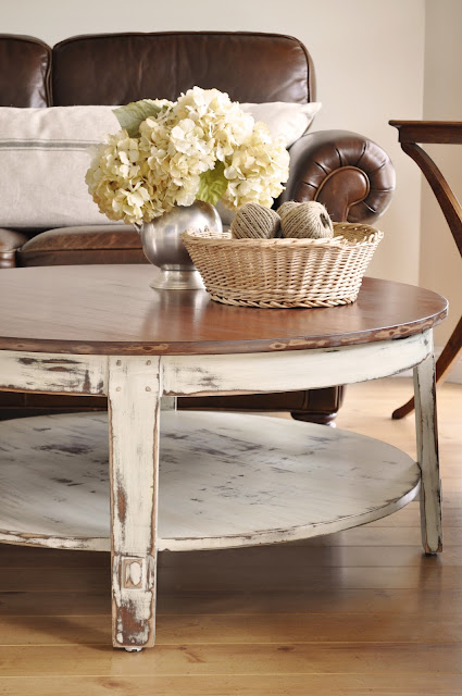 Distressed coffee table the painted hive for Distressed white round coffee table