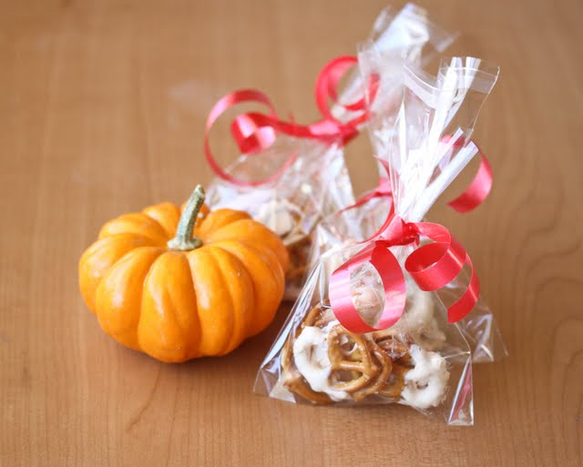 photo of a bag filled with Pumpkin Spice Chocolate Covered Pretzels