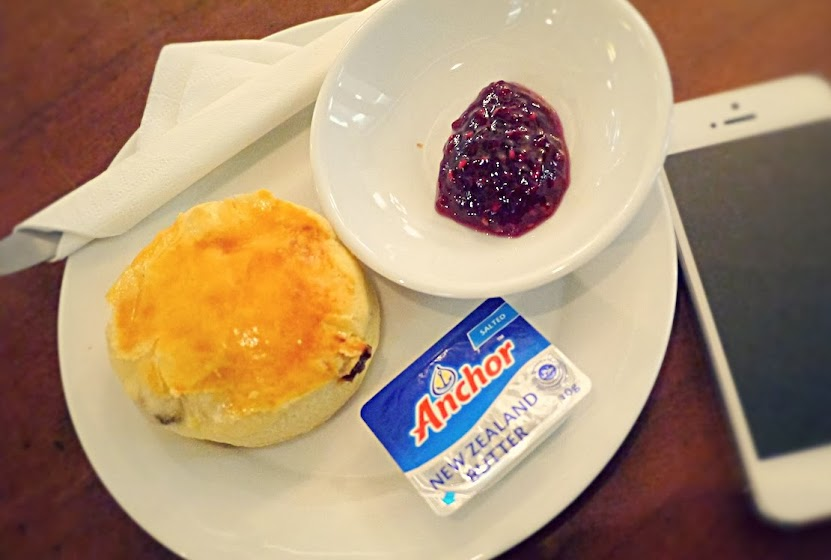 Homemade scones butter and jam