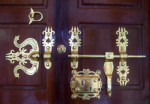 ornate door lock/knob found in most traditional and rich kerala