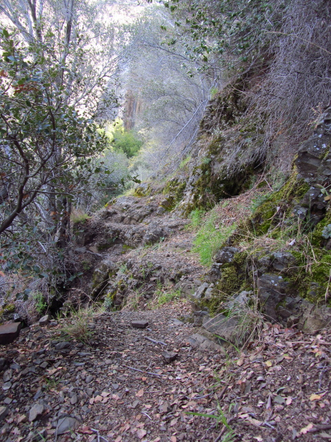 use trail along the rocks
