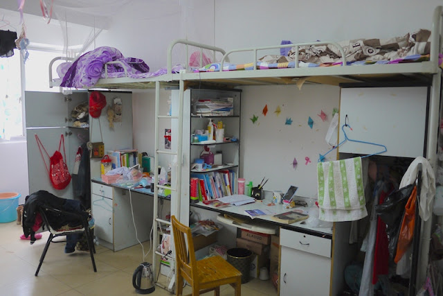 inside a female dormitory room at Central South University of Forestry and Technology in Changsha, China.