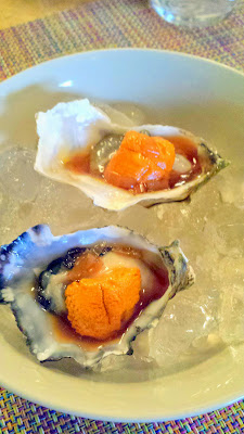 Torke Oyster with Uni, and ginger blossom at Nodoguro August themed pop-up- Haruki Murakami 8/12/2014