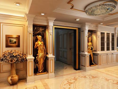 Cửa ngăn phòng được thiết kế theo phong cách cổ điển