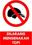 Rambu Dilarang Memakai Topi