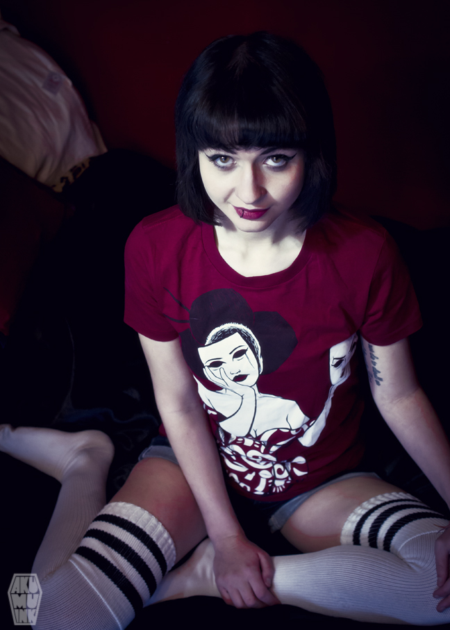 pinup, cosplay model, horror girl, goth girl, tattoo model, alternative model, goth model, akumuink, emo tshirt, streetwear