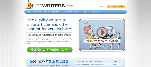 Hirewriters.com - Hire quality writers to write articles and other content for your website