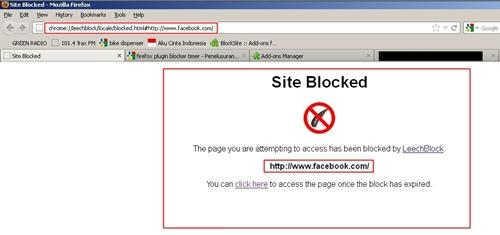 Ini hasilnya jika Anda mengakses situs yang diblokir pada waktu yang telah ditentukan.