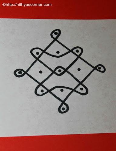 Sikku Kolam 5 to 1 Dots