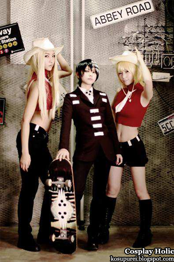 soul eater cosplay - elizabeth liz thompson, death the kid, and patricia patty thompson